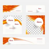 Vector brochure with circles and wave — Stock Vector