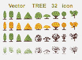 Vector set Trees web icons — Vector de stock