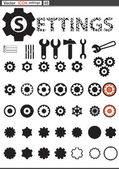 Vector set web icons. settings cogwheel — Stock Vector