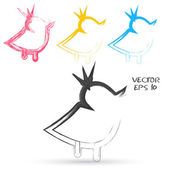 Vector sketch style of twitter bird icons. — Vetor de Stock