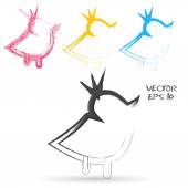 Vector sketch style of twitter bird icons. — Stock vektor