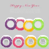 Colorful circles with Happy New Year text — Stock Vector