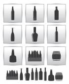 Vector alcoholic drinks icon. square gray set — Stock Vector