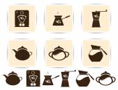 PrintVector brown coffee icons set and cafe icon — Stock Vector