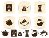 PrintVector brown coffee icons set and cafe icon — Vecteur