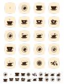 Vector brown coffee icons set. Cup cafe icon — Stock Vector
