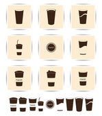 Vector brown coffee icons set. Cup cafe icon — Vector de stock