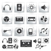 Vector icons set . Music sound — Stockvektor