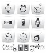 Vector set icons. Time and clock. — Vettoriale Stock