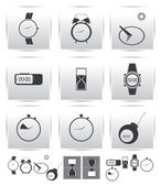 Vector set icons. Time and clock. — Stock Vector