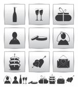 Vector collection web icon. Set wedding — Vetor de Stock