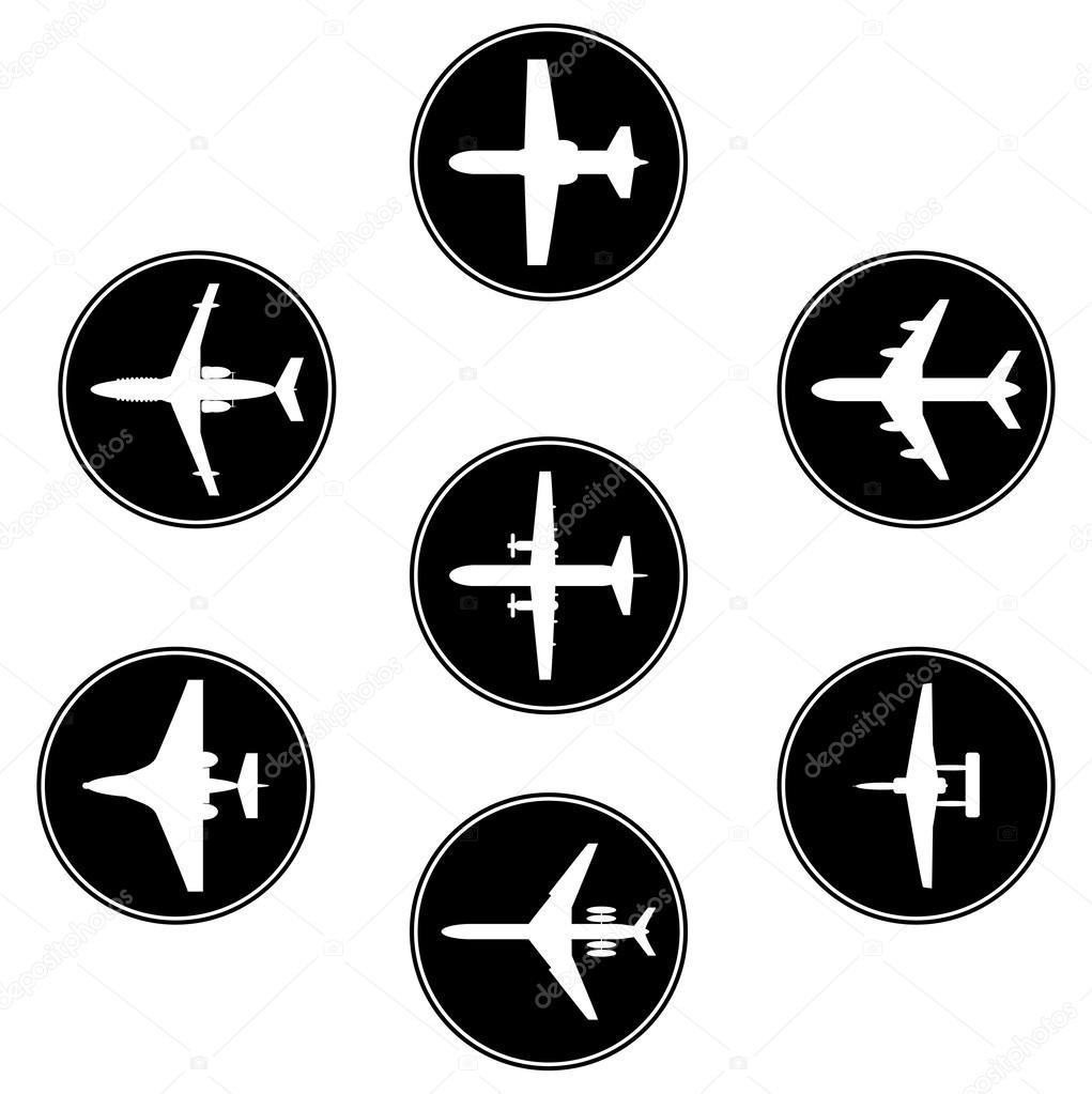 向量集合不同飞机剪影
