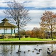Bandstand and duck pond in Greenhead park, Huddersfield, Yorkshire, England — Stock Photo #70723149