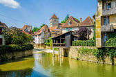 River and buildings in Salies de Bearn, France. — Stock Photo