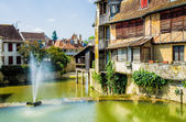 Houses in the French town of Salies de Bearn — Stock Photo