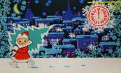 Soviet postcard for Christmas — Stock Photo