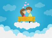 Cute Couple Dating On Clouds, Love, Romance, Kissing — Vetorial Stock