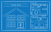 Blueprint, House Plan, Architecture — Stockvektor