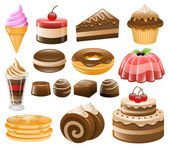 Dessert Icon Set, Sweets, Confectionery — Stock Vector