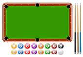 Billiards, Pool Balls, Pool Game Set — Cтоковый вектор