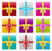 Gift Boxes, Ribbon, Celebration — Vector de stock