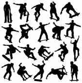 Skateboarding Silhouette, Skaters, Extreme Sport — Vector de stock