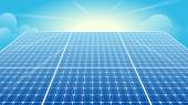 Solar Panels, Solar Power, Sun, Blue Sky — Stockvector