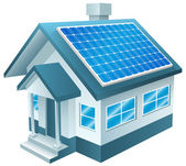 Solar Powered Home, Solar Panels, Renewable Energy — Stock Vector