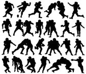 American Football, Sport, Athlete, Silhouette — Stockvector