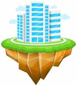 City, Floating Island, Buildings, Landscape — Stock Vector