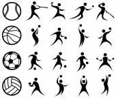 Silhueta de esportes, basquete, beisebol, futebol, voleibol — Vetor de Stock