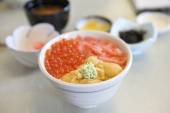 Seafood egg uni ikura don , Japanese cuisine — Stock Photo