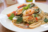 Spaghetti with seafood — Stock Photo