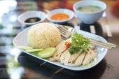Steamed chicken with rice , khao mun kai — Stock Photo