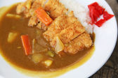 Curry rice with fried pork — Stock Photo
