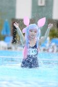 Asian girl cosplay with swimsuit — Stock Photo