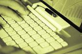 Typing on keyboard — Stock Photo