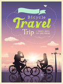 Bicycles travel trip I and my girlfriend, concept design background — Stock Vector