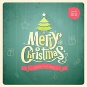 Merry Christmas lettering ฌreeting card background — 图库矢量图片