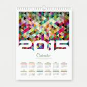 Calendar 2015 colorful triangle geometric template design — Stock Vector