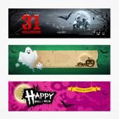 Happy Halloween banner collections design — Stock Vector