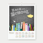 Calendar 2015 back to school with books concept design — Stock Vector
