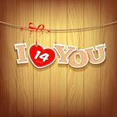 Valentines with text i love you and red ribbons design — Stock Vector