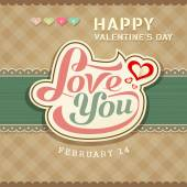 Valentines day message love you banner on brown fabric background — Stock Vector
