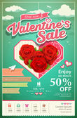 Promotion festival valentine's day sale with red rose on cloud — Wektor stockowy