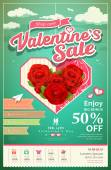 Promotion festival valentine's day sale with red rose on cloud — Vetor de Stock