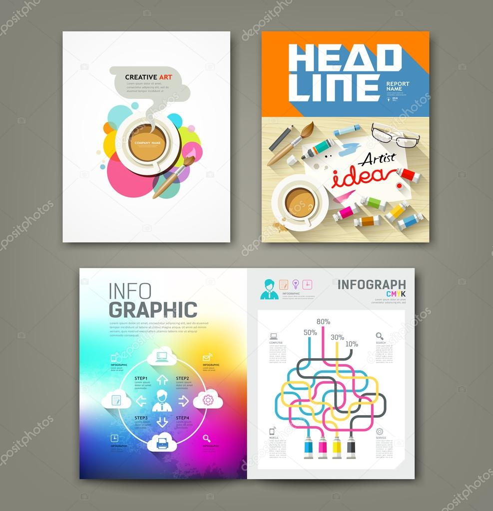 annual report cover desk artist idea concepts stock vector annual report cover desk artist idea concepts paintbrush pencil coffee cup flat design info graphic template background vector illustration