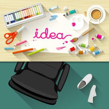 Designer desk artist, collections of flat design