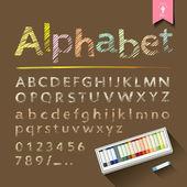 手描きのスケッチ アルファベットと数字パステル カラー ボックス — ストックベクタ
