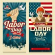 Happy Labor day american banner collections — Stock Vector #78242644